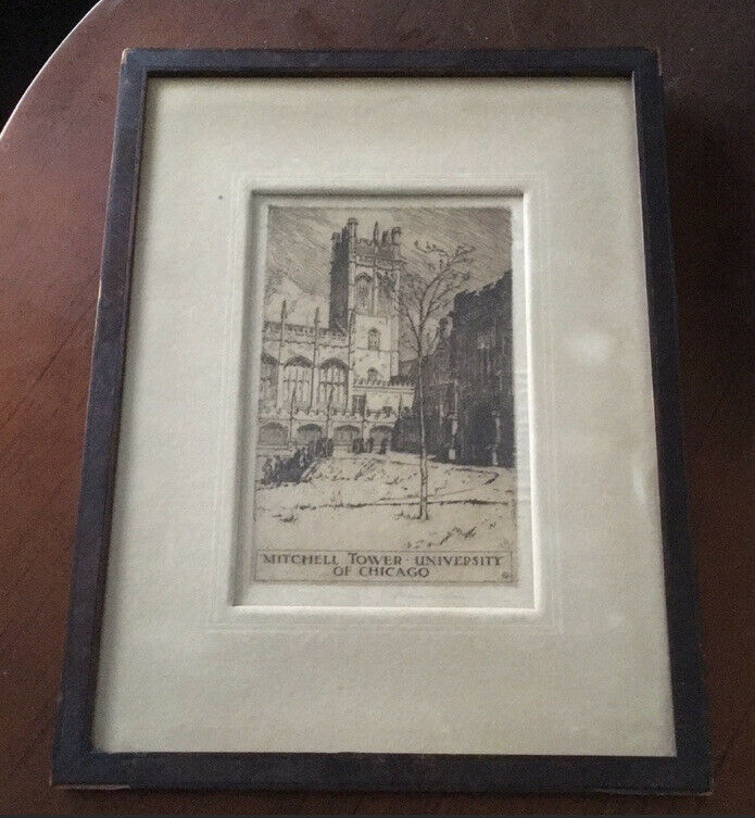 Helen B Stevens Mitchell Tower University Of Chicago Etching Vintage Art
