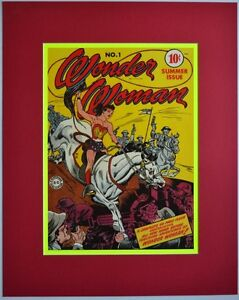 WONDER-WOMAN-1-Cover-Pin-up-Poster-Matted-Frame-Ready-DC