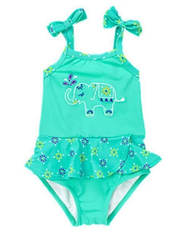 NWT Gymboree Girls Safari Smiles Elephant Swimsuit Size 6-12 M 12-18 M & 18-24 M