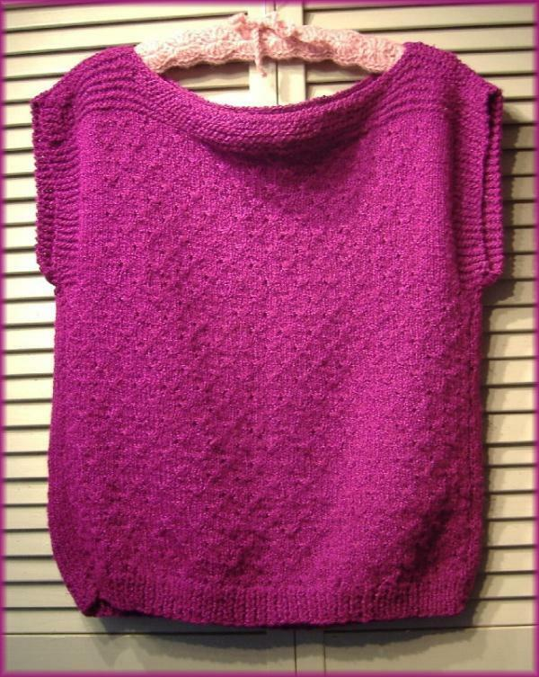 "Bright Magenta Pink Soft Nubby Knit Sweater Vest Top (M) Boat Neck 38"" bust"