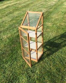 Small indoor wooden greenhouse
