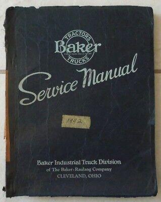 Vintage 1942 Baker Industrial Crane Truck Model Cxf-70 Service Manual