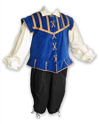 Men's Renaissance Outfit Costume Game of Thrones Ren Faire Cosplay Pirate Blue