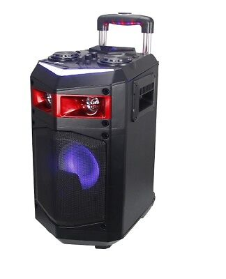 ALTAVOZ PORTATIL TROLLEY ALTAVOCES CON RUEDAS LUCES LED RGB LASER KARAOKE 60W