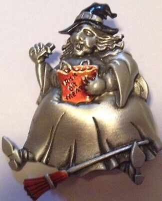 JJ VINTAGE HALLOWEEN WITCH TRICK OR TREAT BAG AND BROOM PEWTER BROOCH - Halloween Broom Treats