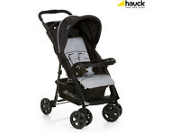 BRAND NEW HAUCK SHOPPER CONFORTFOLD BUGGY PRAM PUSHCHAIR STROLLER IN BLACK grey FROM BIRTH