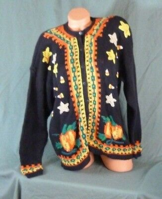 Lauren Hansen Halloween Medium Hand Knit Ugly Sweater Black Cats - Hansen Halloween