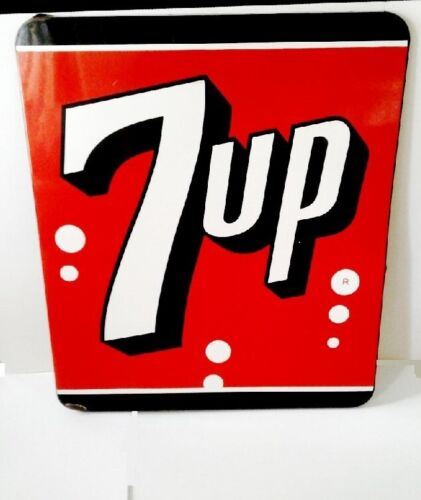 Large Vintage 1950 7Up 7 Up Soda Porcelain Metal Sign in VG + cond 29 X 35 in