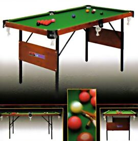 6 ft X 3 ft snooker / pool table with balls + cue. £50 ONO