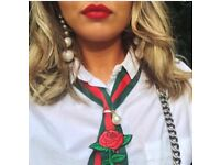 Designer Inspired Neck Scarf - Red/Green