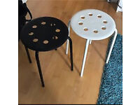 Pair of stools - white and black