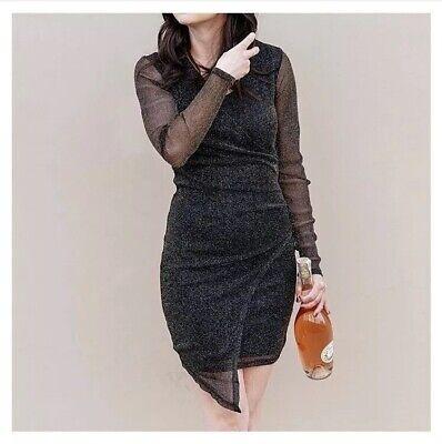 Amelia James Black Gold Glitter Faux Wrap Dress Mini Asymmetrical Semi Sheer