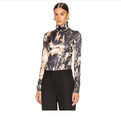 Acne Eryn Printed Stretch-knit Turtleneck Shirt NWOT Size S