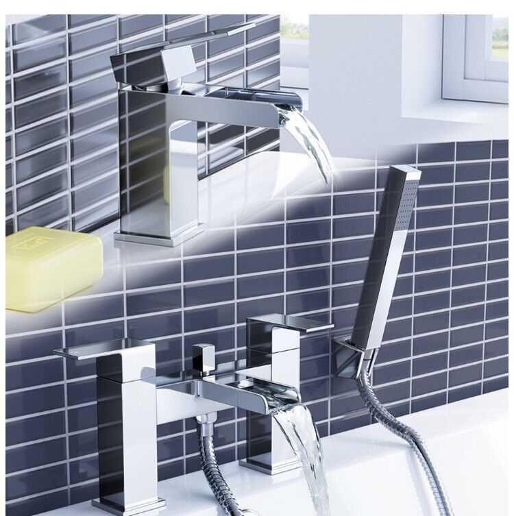Waterfall Basin Sink Mixer Tap + Bath Mixer Shower Bathroom Set