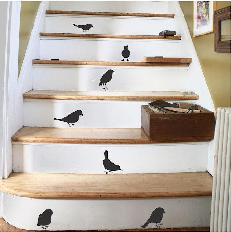 Little Bird Sticker Decals, Cute Sparrow Wall Vinyls For Sta