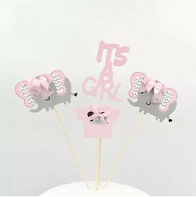 It's a girl elephant paper Birthday Cake Topper Decoration Party Supplies.