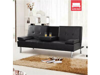 Like New: Stunning 3 Seater Sofa Bed Black Leather with Chrome Metal Leg