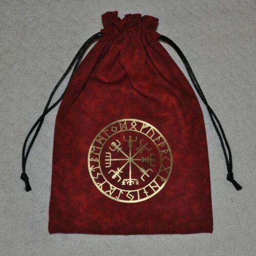 Vegvisir Viking compass Norse rune asatru elder futhark handmade red dice bag