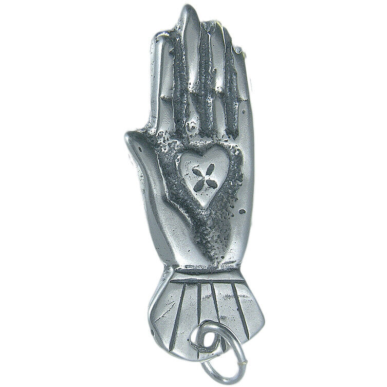 Solid sterling silver HAND WITH HEART MILAGRO charm (M-153)