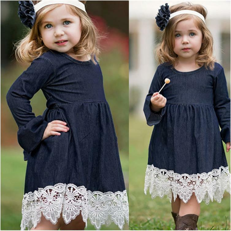 Toddler Infant Baby Girls Denim Flare Sleeve Dress Lace Splice Sundress Clothes