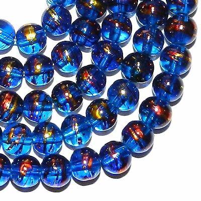 Round Blue Swirl - G2336 Dark Blue 8mm Round Metallic Drawbench Swirl Glass Beads 32