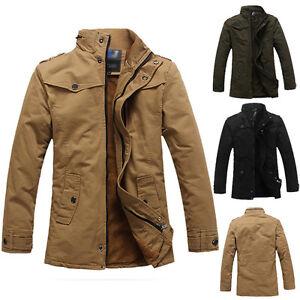 Fashion-Men-WARM-Peacoat-Stand-Collar-PARKA-Military-Jacket-Trench-Coat-Overcoat