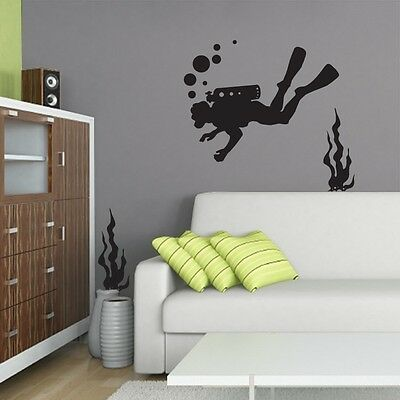 Scuba Diver Silhouette (Scuba Diver Silhouette with Reeds and Bubbles Wall Art Stickers Ocean Sea)