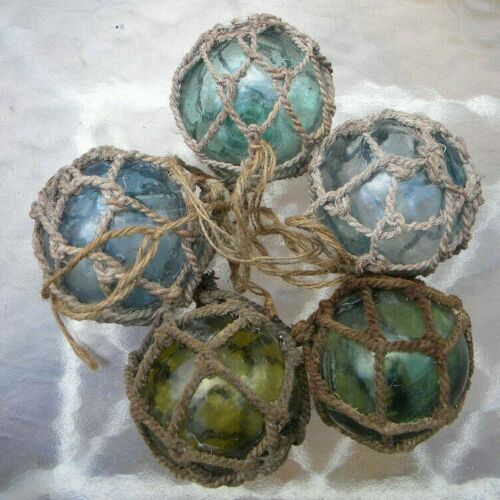 5 VTG NETTED JAPANESE GLASS FLOAT BALL BUOY LARGE PONTIL NAUTICAL DECOR