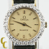 14k Yellow Gold Omega Ω Women's Quartz Watch w/ Diamond Bezel & Leather Band