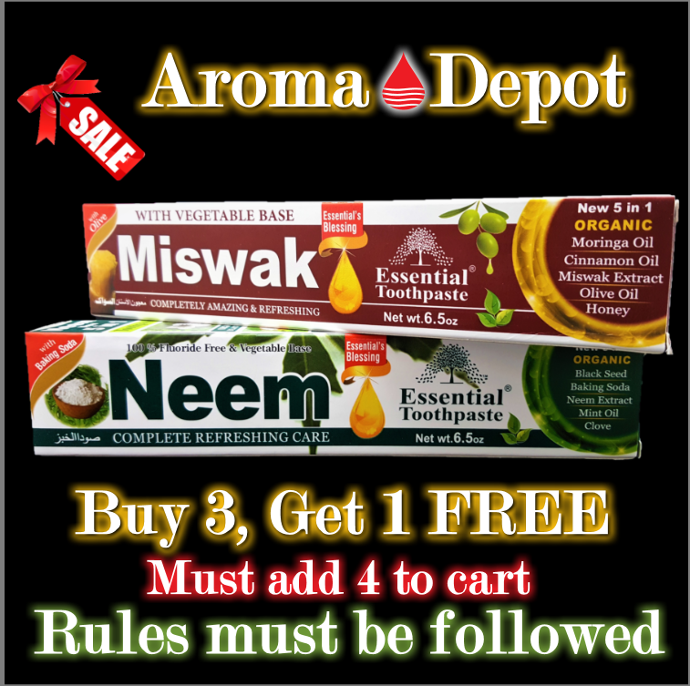 Neem & Miswak Essential Toothpaste New 5 in 1 FREE SHIPPING Oral Care 2 Tubes