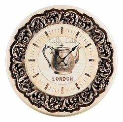 NEW DECORATIVE CARVED EMBOSSED WALL HANGING CLOCK FINE ASH-TREE WOOD *FOR DECOR*