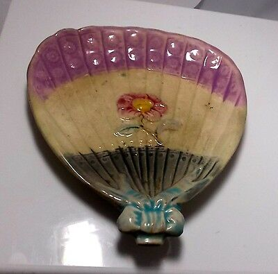 Majolica Fan Calling Card Tray Dish Figural Fan Blue Bow Pink Flower c 1800's ()