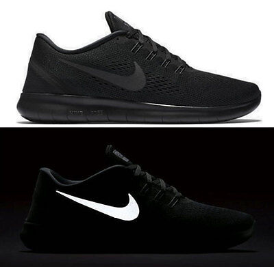 New NIKE Free RN Reflective Men's Running Shoes triple black mono all sizes