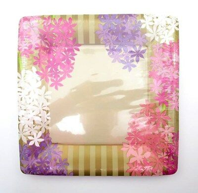 DESIGN DESIGN 8 Dinner Size Coated Paper Plates ~ HYACINTH 10.25 in. sq. ~  New