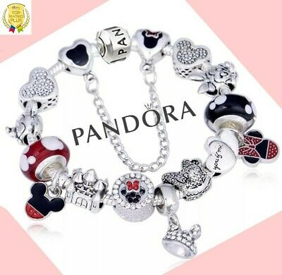 Authentic Pandora Bracelet Silver Bangle with Disney Mickey Mouse European Charm