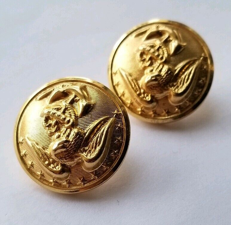 USMC Marine Brass Dress Blue Buttons Lot of 2
