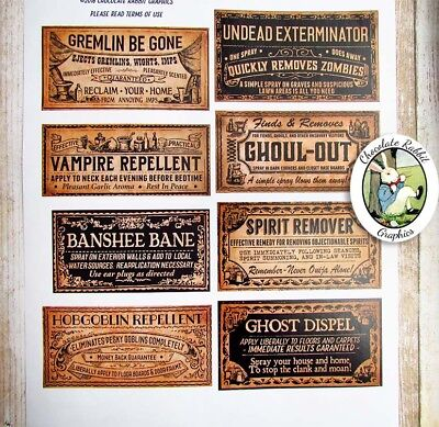 Potion Bottle Labels for Halloween, Uncut Label Stickers Set of - Halloween Labels For Bottles