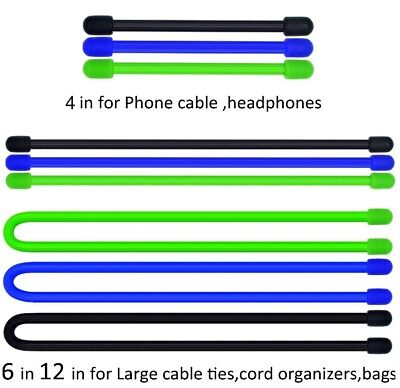 9 Pc. Set of Gear Steel-Core Silicone Twist Ties (3 Sizes x 3 Colors): Organize! Colored Twist Ties