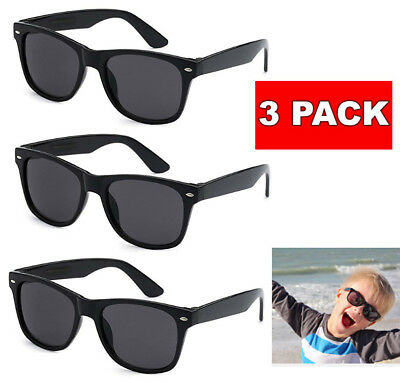 3 Pack Lot KIDS Toddler BOYS GIRLS Black CLASSIC RETRO SUNGLASSES SHADES Baby (Baby Sun Glasses)