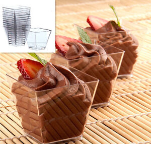 40pcs Mousse Cake Dessert Cups Canape Dishes Clear Plastic Jelly Goblet Party