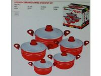 NEW RED CERAMIC COATED NON STICK PAN SET