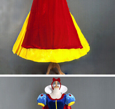 Halloween Cosplay Fancy Dress Princess Snow White Costume for Adult w/ Petticoat - Custom Halloween Costumes For Adults
