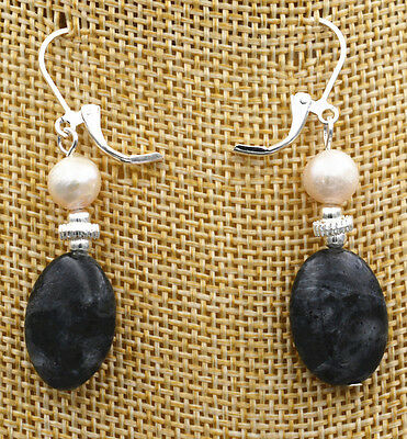 New Akoya Freshwater aquaculture Pearl+Black Gray Labradorite Gems Earrings