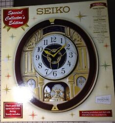 Seiko QXM541BRH Melodies n Motion Musical Wall Clock w/Rotating Pendulum-Beatles