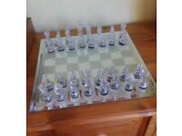 Glass chess set complete but no box
