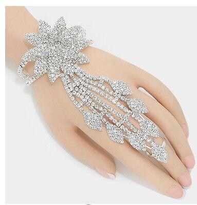 Clear Crystal Rhinestone Bracelet - Silver Clear White Crystal Rhinestone Wedding Slave Hand Chain Ring Bracelet