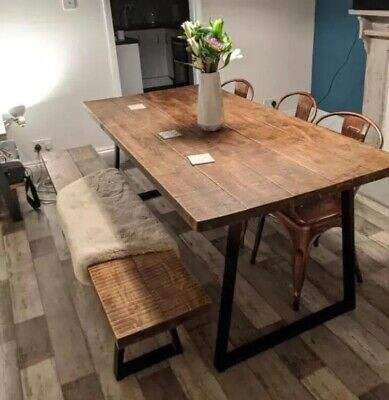 Rustic Industrial Dining Table Vintage Reclaimed Style DiningTable ~A Frame Legs