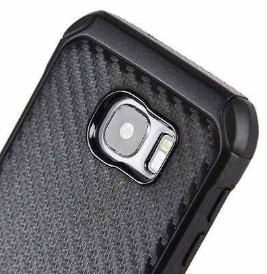 For Samsung Galaxy S7   Hard Rubber Hybrid Armor Case Cover Black Carbon Fiber