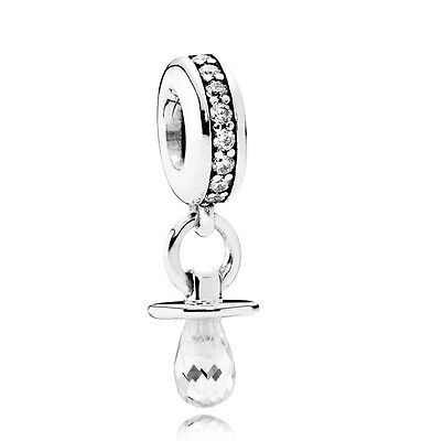 New Authentic Pandora Charm 791890Cz Pacifier With Clear Cz Box Included