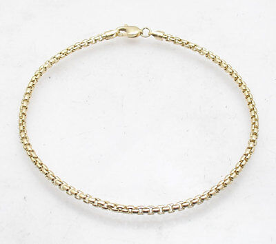 - Venetian Round Box Chain Hand Bracelet with Lobster Clasp Real 10K Yellow Gold
